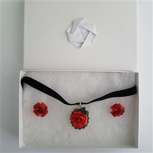 Red rose choker with Victorian style earrings | 1st Anniversary | MyGiftGenie