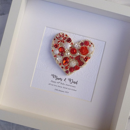 40th Ruby Wedding Anniversary Framed Gift 40th Anniversary Gift