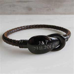 Engraved Leather Bracelet| 3rd Leather Anniversary | MyGiftGenie