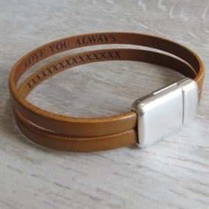 Secret Message Double Strap Bracelet | 3rd Leather Anniversary | MyGiftGenie