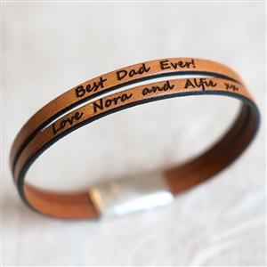 Personalised Leather Double Strap Bracelet | 3rd Leather Anniversary | MyGiftGenie