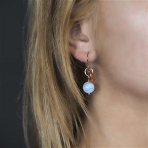 Copper Disc & Gemstone Earrings | 7th Copper Anniversary | MyGiftGenie
