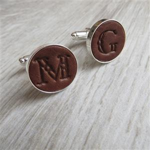 Leather Initial Cufflinks | 3rd Leather Anniversary | MyGiftGenie