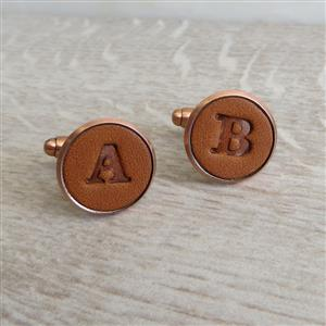 Copper Embossed Leather Cufflinks | 7th Copper Anniversary | MyGiftGenie