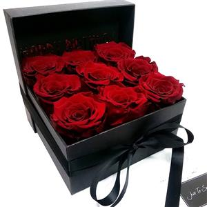 Nine One Year Roses With Custom Lid Message | Luxury Flowers | MyGiftGenie