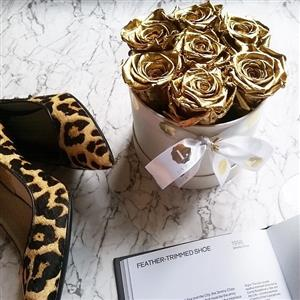 Luxury Gold Metallic Roses | 50th golden wedding anniversary gift | MyGiftGenie