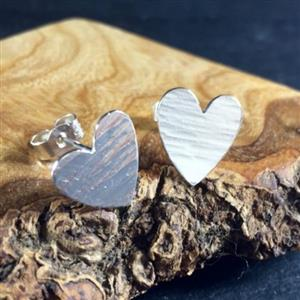 Hammered Heart Stud Earrings | Jewellery for her | MyGiftGenie
