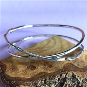 Silver & Cast Willow Cross Bangle | 9th willow anniversary gift for her | MyGiftGenie