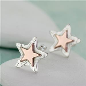 Personalised Copper/Gold Silver Star Studs | Personalised Gifts for Her | MyGiftGenie