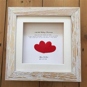 Framed Silk Joined Hearts Print