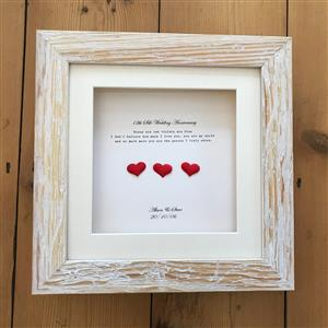 3 Framed Silk Hearts Framed Print | 12th anniversary | MyGiftGenie