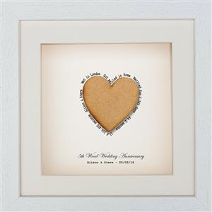 Framed Wooden Heart | 5th anniversary | MyGiftGenie