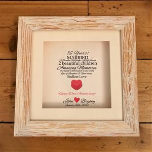 Personalised Framed Wax Heart Print | 16th wax anniversary | MyGiftGenie