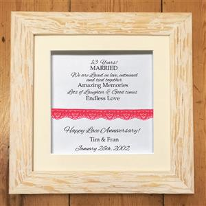 Personalised Framed Lace Design  | 13th Lace Anniversary | MyGiftGenie