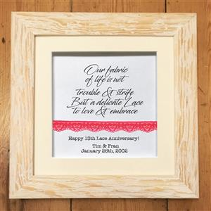Personalised Framed Lace Print With a Verse
