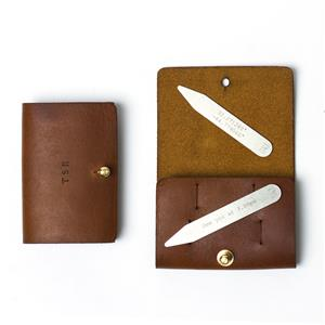 Personalised Collar Stiffeners with Pouch | 3rd leather anniversary gift | MyGiftGenie