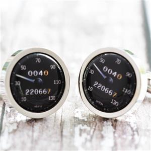 Personalised Black Speedometer Cufflinks | Car Gifts | MyGiftGenie