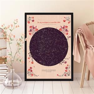 Romantic Personalised Star Map - Bouquet | Personalised Anniversary Gift | MyGiftGenie