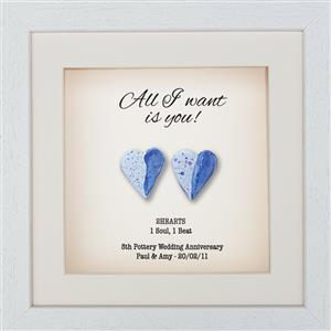 2 Framed pottery Hearts Framed Print | 8th anniversary | MyGiftGenie