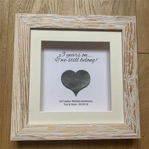 Personalised Framed Leather Heart print  | 3rd anniversary | MyGiftGenie