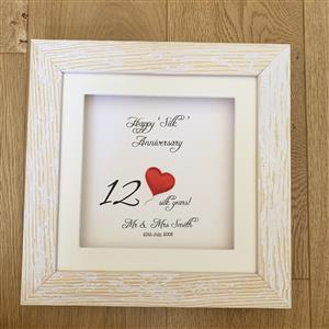 Single Heart Silk Anniversary Gift | 12th anniversary | MyGiftGenie