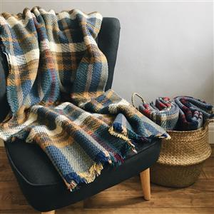 Checked Random Recycled Wool Blanket | 7th Anniversary Gift | MyGiftGenie