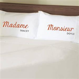 Monsieur/Madame Personalised Pillow Cases | 2nd Cotton Anniversary Gift | MyGiftGenie